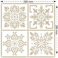 Figuras 12x12 cm, TODO-STENCIL Pared Baldosa 003.Tama/ño peque/ño 30x30 cm dise/ño 28x28 cm