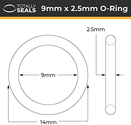Anillas de goma Viton FKM 19 mm x 2,5 mm, 24 mm de di/ámetro, dureza 75A