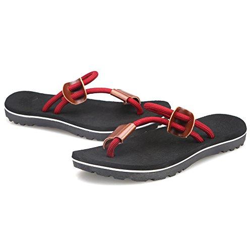 Cior Heren Handgemaakte Mode Strand Slipper Indoor En Outdoor Klassieke Flip-flop Thong Sandalen 03 Zwart