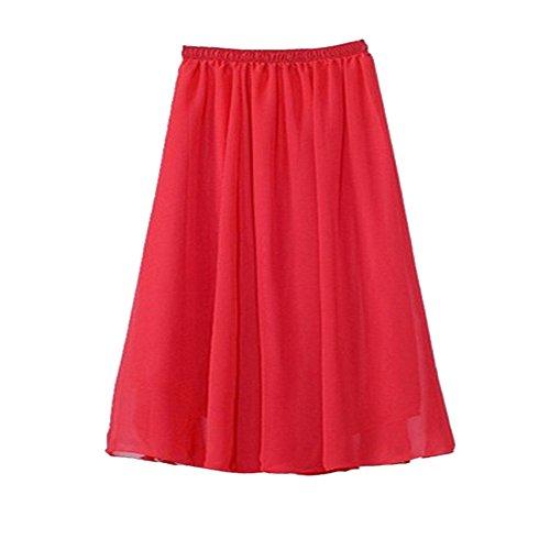 Coton amp;Lin en Long Femme Taille Jupe Skirt Longue Classique Elgante Elastique Rouge Plage de 1 vqY7qPw