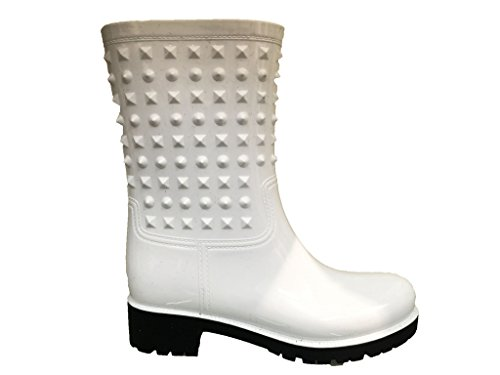 Puddle Waterproof Midcalf Snow Boots Boot Townforst Rain White Studded Rain and Rubber Women's Wellies Flat tFwUqzC