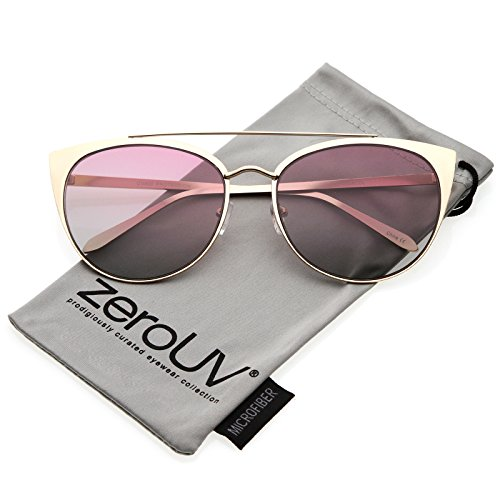 zeroUV - Women's Oversize Metal Crossbar Colored Flat Lens Cat Eye Sunglasses 61mm (Matte Gold / (Cheap Coloured Contact Lenses)