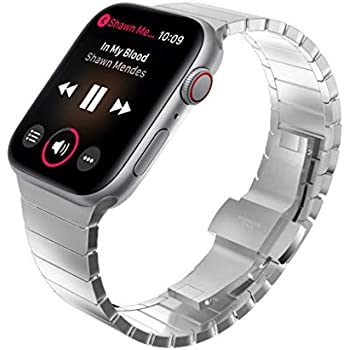 8882e807625 KADES Solid Stainless Steel iWatch Band Link Bracelet Compatible for Apple  Watch Series 3 2 1 38mm   Series 4 40mm (Butterfly Clasp