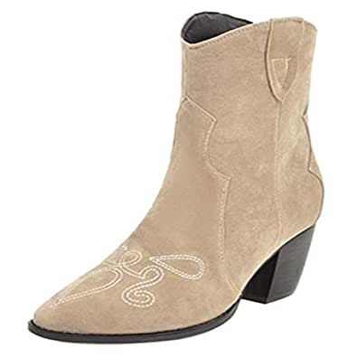 FANIMILA Women Fashion Western Cowboy Boots Embroidered Stacked Block Heel Ankle Booties Beige Size 34 Asian