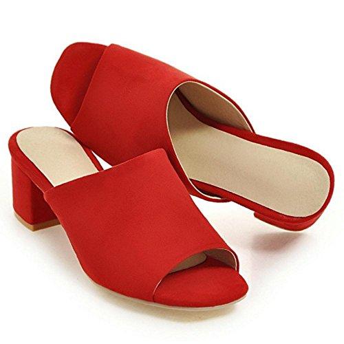 Red Peep Femmes TAOFFEN Mules Toe wIq5BRaW
