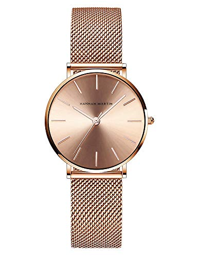 Women's Rose Gold Watch Analog Quartz Stainless Steel Mesh Band Casual Fashion Ladies Wrist Watches (Rose Gold Dial)