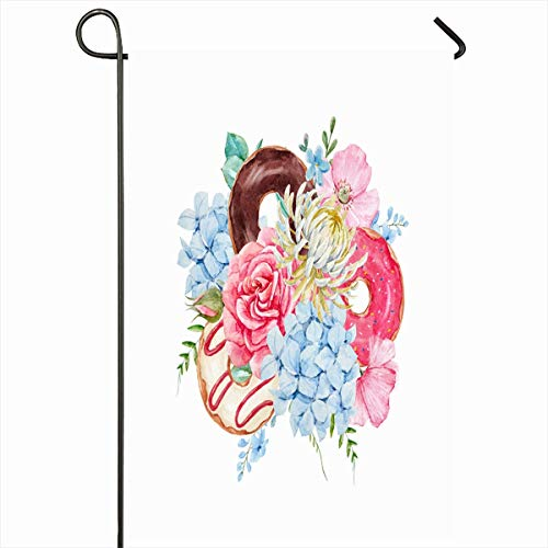Ahawoso Garden Flag 12x18 Inches Dessert Easter Watercolor Floral Delicate Bouquet Donuts Rose Nature Pink Bloom Blossom Botanical Outdoor Decorative Seasonal Double Sided Home House Yard Sign