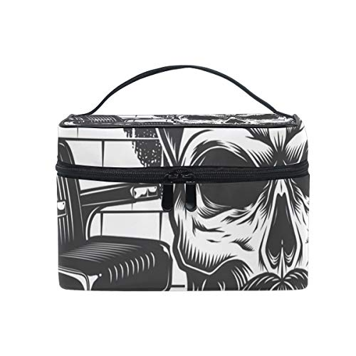 Makeup Cosmetic Bag Cool Beard Skull Portable Storage with Zipper