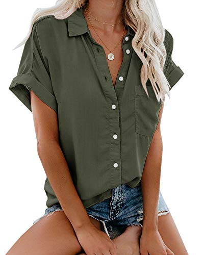 Womens Summer Button Down Shirts Pocket Short Sleeve Blouse Military Utility - Sleeve Shirt Short Utility