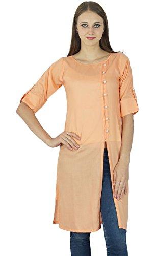 India algodón Kurti Top Bollywood mujeres Kurta sólido de la túnica étnico del vestido ocasional
