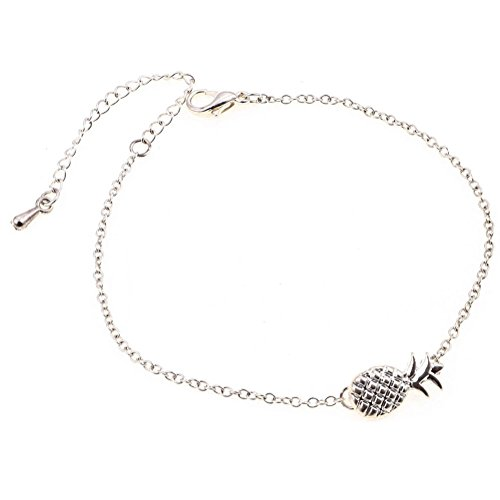 Yonger Pineapple Pattern Bracelet Hand Chain Adjustable Bangle Jewelry Accessories for Valentine's Day and Birthday Gifts Silver