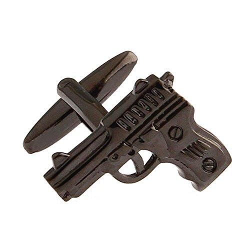 Pistol Handgun Gunmetal Black Gun Police Pair Cufflinks