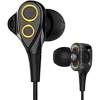 UiiSii T8 In-ear Earbuds Headphones Dual Dynamic Drivers Earphones with Mic Strong Bass and Noise Reduction Volume Control Headset for Apple iOS and Android Computer PC Tablet(Gold)
