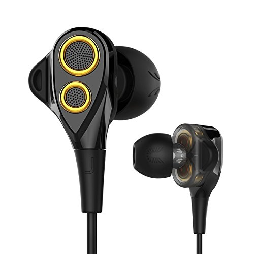 Earphones, UiiSii DT200S in Ear Earbuds with Microphone, Triple Drivers Headphones with Noise Isolating, Volume Control and Stereo Bass, Compatible with Apple iOS, Android Phones, PC, Tablet