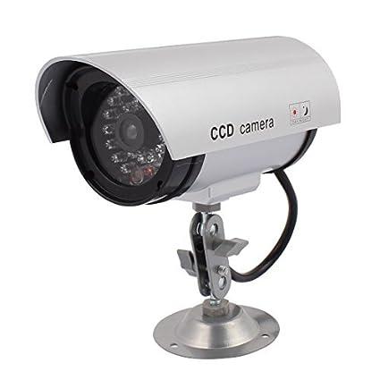eDealMax falso cámara de vigilancia de seguridad simuladas IR CCTV & Light Grabar con hierro Párese