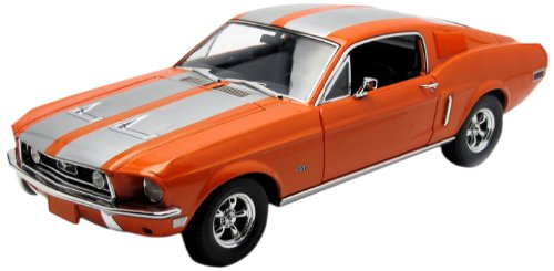 1968 Ford Mustang GT Fastback Orange with Silver Stripes 1/18 Limited Edition 1 of 999 Produced Worldwide by Greenlight 50830 -  5083010506