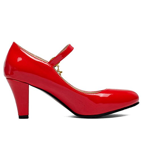 TAOFFEN Women's High Heel Ankle Strap Court Shoes Red pOGcMlEuTZ
