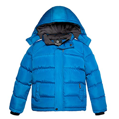 (Wantdo Boys Hooded Winter Jacket Insulated Quilted Windbreaker Blue 10/12)