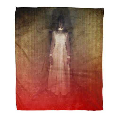 Emvency Throw Blanket Warm Cozy Print Flannel Creepy Horror Movie Scene Girl Ghost in White Dress Hair Comfortable Soft for Bed Sofa and Couch 60x80 Inches -