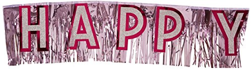 (Metallic Happy Birthday Banner (pink w/silver gltrd pink ltrs) Party Accessory  (1 count))