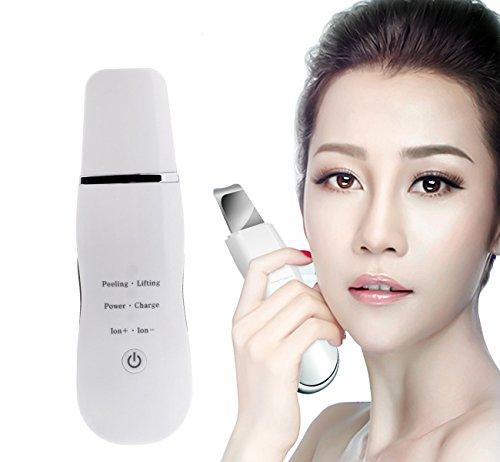 Ultraschallpeelinggerät VOUMEY Skin Scrubber, Ultraschall-Peeling Porenreiniger Akne-Entferner Ionen Hautreiniger für Gesichtsreinigung Gesichtspflege (Weiß)
