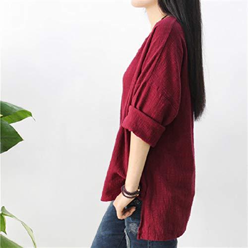 Donne Moda Manica Cime Shirt Collo a Sciolto T Rotondo Autunno Camicie Irregolare Tumblr Fashion Primavera Tops Bluse Lunga Maglietta Casual Rosso Simple Maglie XqwHTxAEH