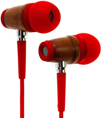 Symphonized Kids Volume Limited Premium Wood in-Ear Noise-isolating Headphones|Earbuds|Earphones with Mic (Firetruck Red)