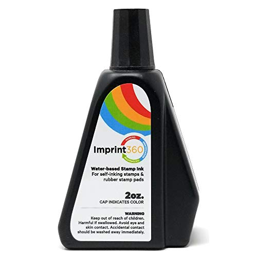 Supply360 AS-IMP125561 - Premium Self-Inking Stamp Ink Refill, Black Ink in 2oz Bottle with Easy to use Drip Spout