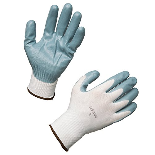 AMMEX - C225-L - Work Gloves - Stretch Nylon Nitrile Dipped  - 12 pairs/bag;25 bags/case, Large, White/Gray(Case of 300) by Ammex (Image #4)