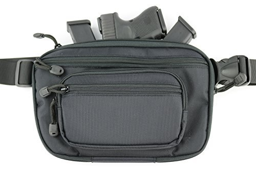 ComfortTac Ultimate Fanny Pack Holster Fits Glock 42, 43, 26, 27, S&W Bodyguard, Shield, Springfield XDs, Taurus, Sig, and Most Subcompact and Compact Pistols | Black
