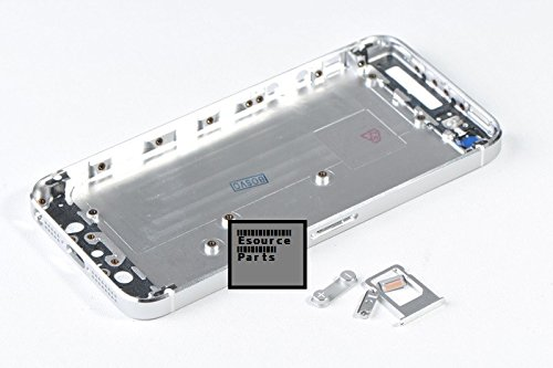 iPhone 5 Back Cover Housing Assembly with Middle Frame Bezel with Sim Tray Volume and Power Button - Silver ()