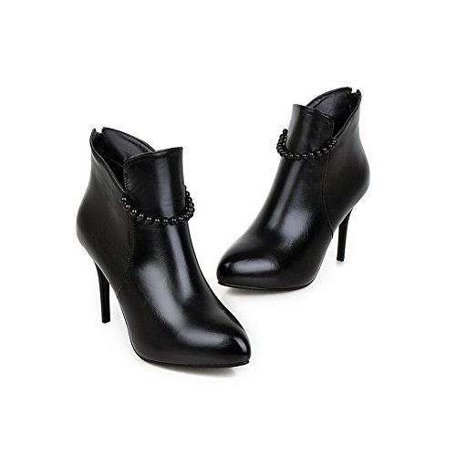 Black Material WeenFashion Closed Solid High Pointed Soft Heels Women's Toe Boots Zipper wwCPgT