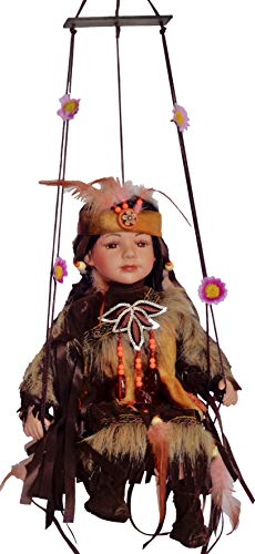 Collectable Native American/Indian Girl on Swing Porcelain Doll (Dark Brown) ()