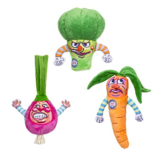 FUZZU Steamed Vegetables Dog Toys with Squeaker Collection - Small to Medium Dog (9