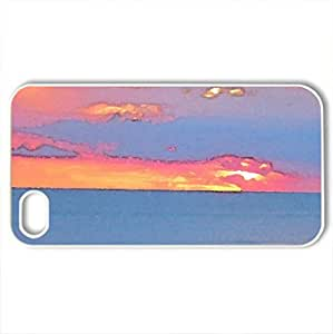 lintao diy Beach Sunset twilight - Case Cover for iPhone 4 and 4s (Sky Series, Watercolor style, White)