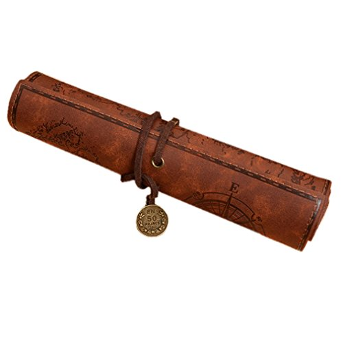 - Retro Pencil Roll Case Pirate Treasure Map Pattern Pen Pouch Nubuck Leather Pencil Roll Makeup Cosmetic Holder Carrier for Men/Women Gift BD05