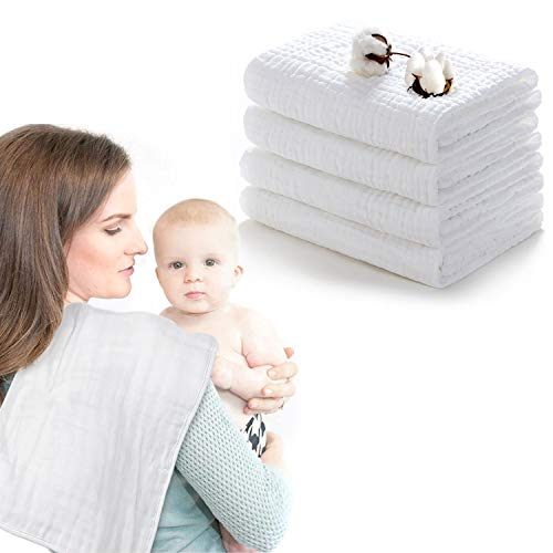 """Muslin Burp Cloths 100% Cotton 6 Layers Extra Absorbent 4 Pack Large 10""""x20"""" by YOOFOS"""
