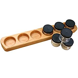 Camden Rose Cherry Wood Six Jar Paint Holder