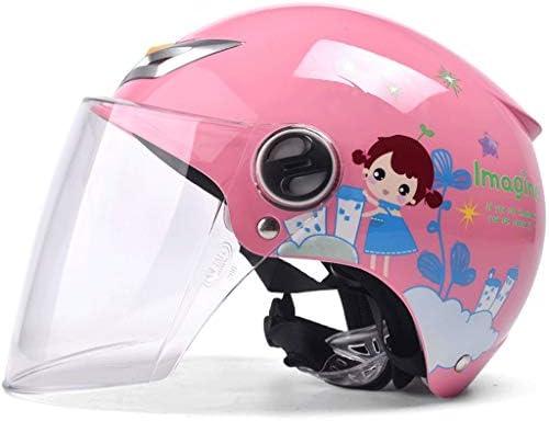 NJ ヘルメット- ABS素材子供のヘルメット電動オートバイ夏漫画ヘルメットハーフヘルメット多色 (Color : Pink A, Size : 55cm)