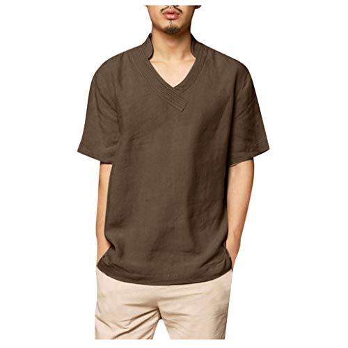Blouses Shirts Beach Short Sleeve Button Up Tops Lightweight Tees Summer Mandarin Collar Mens (XL,4- Gray)]()