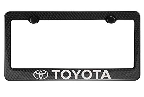 Fit Toyota Carbon Fiber License Plate Frame with Cap ()