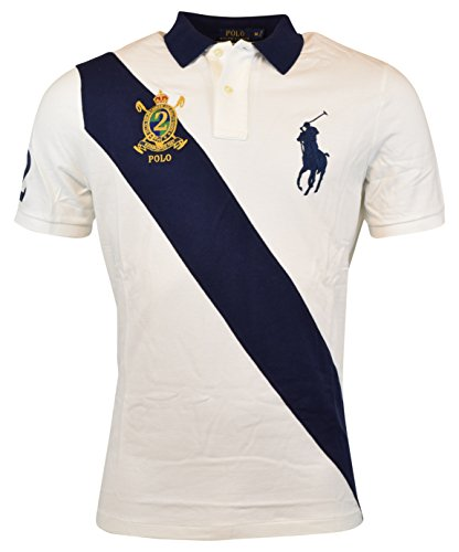 Mens Classic Stripe Shirt (Polo Ralph Lauren Men's Classic Fit Big Pony Banner Stripe Polo Shirt White Navy (Large))