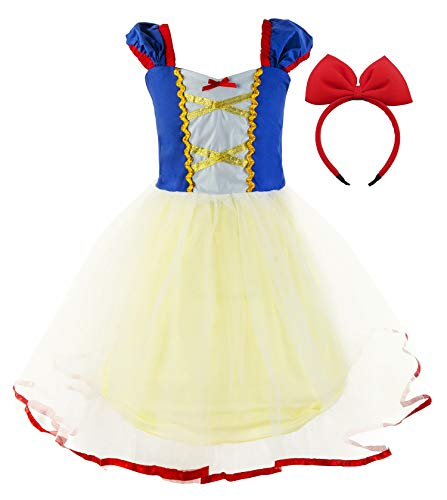 Princess Cinderella Rapunzel Little Mermaid Dress Costume for Baby Toddler Girl (5, Yellow) (Dresses Princess Up Dress)