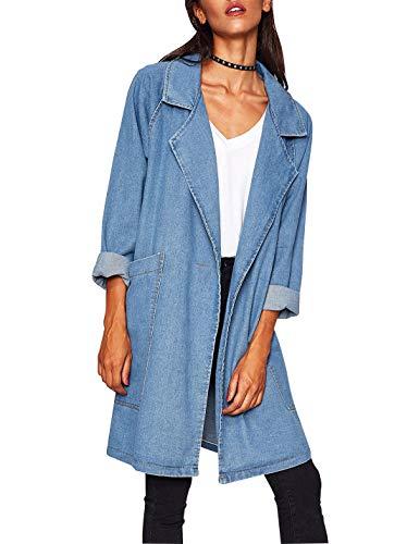 Omoone Womens Long Sleeve Lapel Button Mid Long Denim Trench Coat Trucker Jacket(Light Blue-One Size)