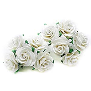 "1"" White Paper Flowers Paper Rose Artificial Flowers Fake Flowers Artificial Roses Paper Craft Flowers Paper Rose Flower Mulberry Paper Flowers, 20 Pieces 96"