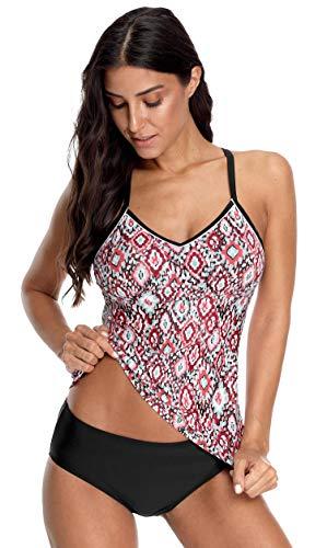(ATTRACO Women's Tankini Swimsuit Tummy Control V Neck Swimwear 2 Pcs Safflower L)