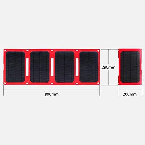 QCHNES Caricabatterie Solare Banca di Potenza Portatile da 25 W con 4 Pannelli solari, Batteria Solare Impermeabile per Smartphone, Tablet, Escursioni da Viaggio all'aperto