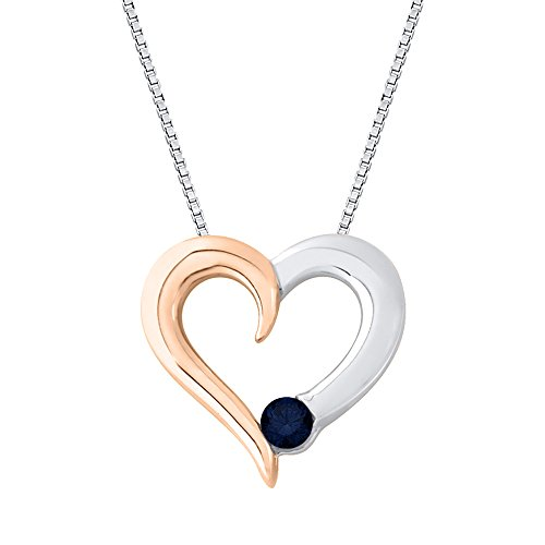 2 Tone Diamond Heart Pendant (Sapphire Diamond Heart Pendant Necklace in 10K Two Tone Gold (1/6 cttw) (Color GH, Clarity I1))
