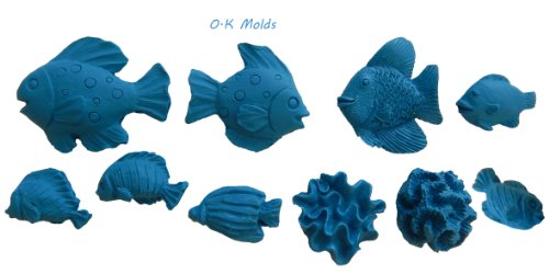 O.K Molds silicone decorating fondant gompaste supply fish series M4835