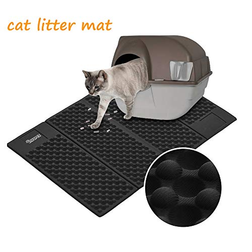 DADYPET Cat Litter Mat, Double-Sided Cat Litter Trapper, Waterproof Foldable Kitty Litter Mat Scatter Control for Litter Box,Size 30